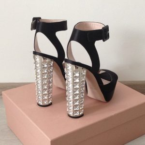 Miu Miu Crystal Heeled Sandals