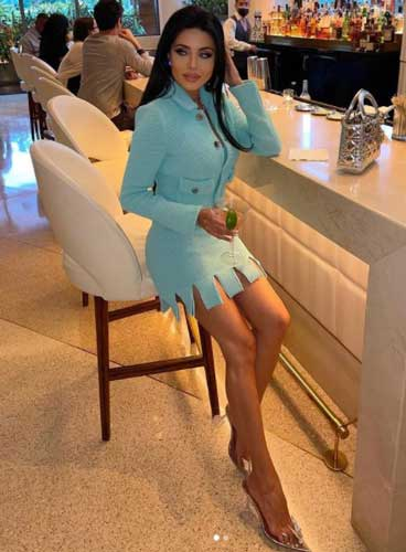 leylamilani in a blue dress at a party