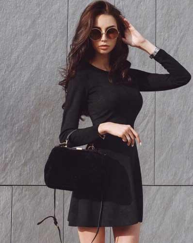 vika.d.evil in an elegant black dress